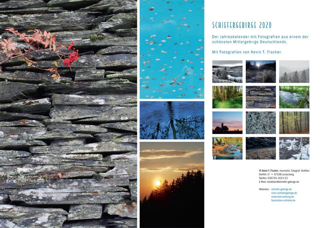 Rückseite des neuen Kalenders Wunderschönes Schiefergebirge 2020
